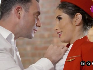 Sensuous flight attendant cheats on her husband