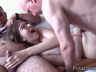 Hot Nerd Girl Denice Pounded By Two Old Men