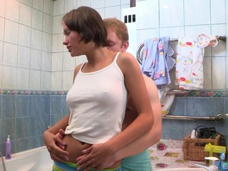 Brunette teen babe Meddie seduced and pounded in a bathroom