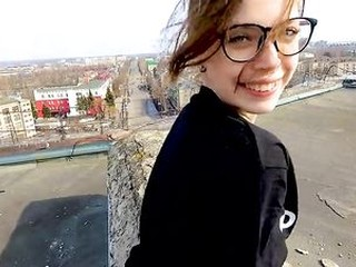 Outdoor Public Sex on the Roof of a High-rise Building - POV by MihaNika69
