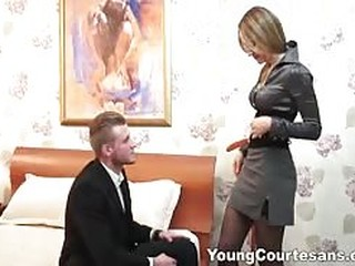 Young babe in stockings gets fucked and jizzed on