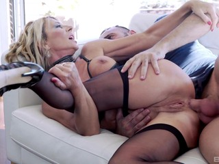 Mature mommy takes it in the ass in front of her step son