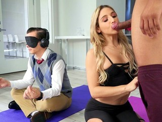 Abella Danger is sucking the black cock as her HB is doing yoga