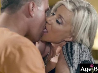 Mature blonde neighbor Payton Hall craves for young cock