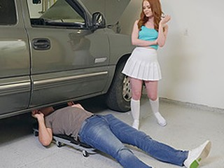 Redhead slut Ella Hughes seduces her car mechanic and gets a facial