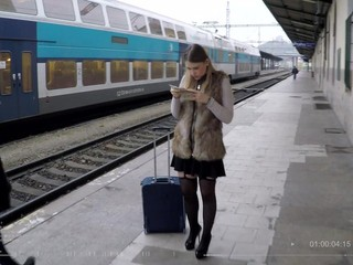 Travelling Russian teen Selvaggia eats cum