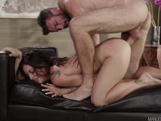 Hard Fuck Lovemaking On Black Leather Sofa - hard core