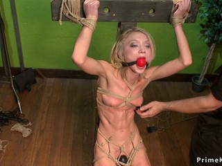 Skinny blond hair lady slave butt fucking toyed