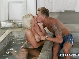 Seductive blonde woman, Lilli Vanilli is fucking her new lover after she gave him a deep blowjob
