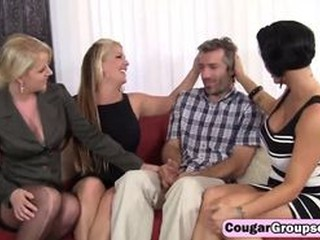 Shameless cougars seduce lucky guy and suck his erect dick