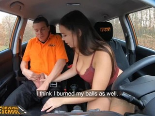 Fake Driving School Busty brunette Sofia Lee sucks hot dick