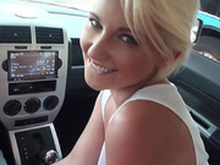 Stranded teen Dani Desire sex in the car