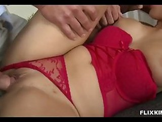 Blonde lady in red lingerie is eager to suck dick and get it from the back