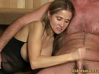 Great looking woman with big, firm tits, Rio is sucking her lover's cock to make him cum