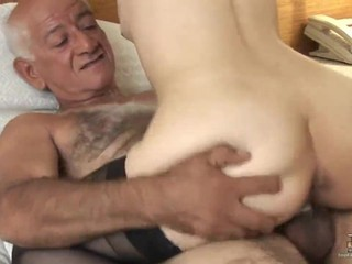 The Hairy Grandpa fucks a Young Schoolgirl