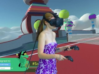 Teen play in tennis VR boobs oops