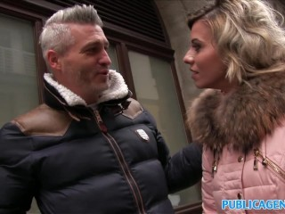 Public Agent Cheating wife with short blonde hair fucks for cash