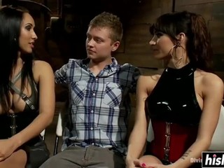 Two hotties make him their slave