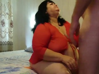 Russian guy assfucks slutty BBW brunette in doggystyle