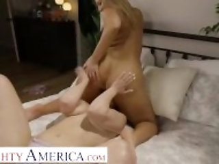 """Naughty America - Candice Dare & Kenzie Madison give lucky fan a shot to shoot...and fuck"""