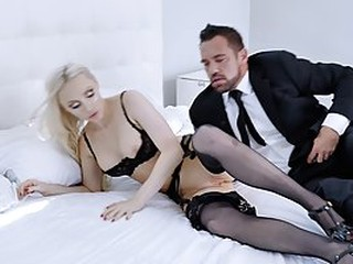 Astonishing blonde, Natasha James is wearing stockings and garter belt, while getting fucked hard