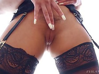 Hot babe in erotic stockings and garter belt got a dick up her tight ass