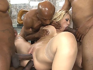 Black guys shared a busty blonde MILFs thirsty pussy