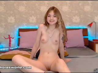 hot sexy red hair russian girl show her pussy the first time