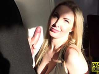 Busty submissive milf blows dick