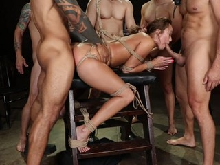 Gangbang in bondage scenes and made to swallow rivers of cum