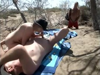 Ardent natural bitch doesn't hesitate to suck her dude's cock dry outdoors