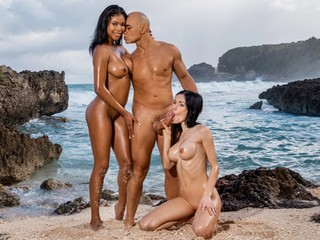 Threesome Sex on The Beach with Spoiled Girls