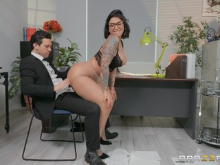 Sexy secretary Devon Lee enjoys sex with her colleague in her office