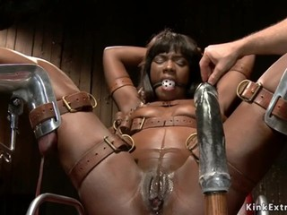 Ebony slave pussy toyed on hogtie