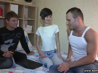 Short-haired skinny brunette takes a part in MMF threesome