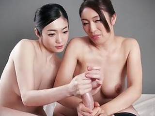 Cock loving Asians are taking turns sucking and rubbing a rock hard dick in POV