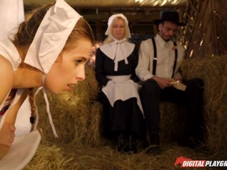 Obedient Amish girl Jillian Janson ass fucked in the barn