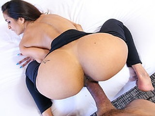 Abby sucks Tonys raging cock until he burst a huge load of cum