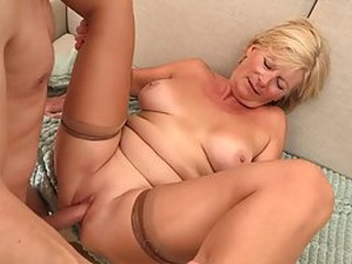 Blonde granny is always willing to spread her legs wide open and get fucked, until she cums