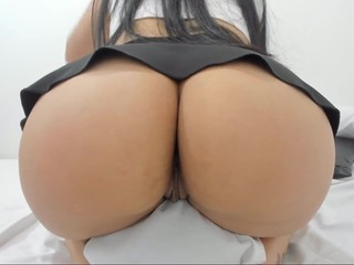 Short skirt sexy girl with big ass and pussy inserted toy
