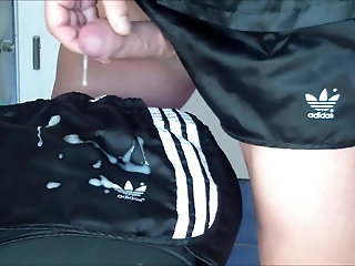 nylon sprinter soccer shorts and satin blouse makes me cum