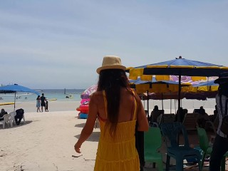 UP Yellow DRESS r NO PANTIES on Public Tropical Beach
