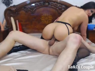 Brunette gives slow blowjob and ride cowgirl